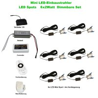 SET LED Spots 6 x 2Watt 3000K MINI LED-Einbaustrahler -...