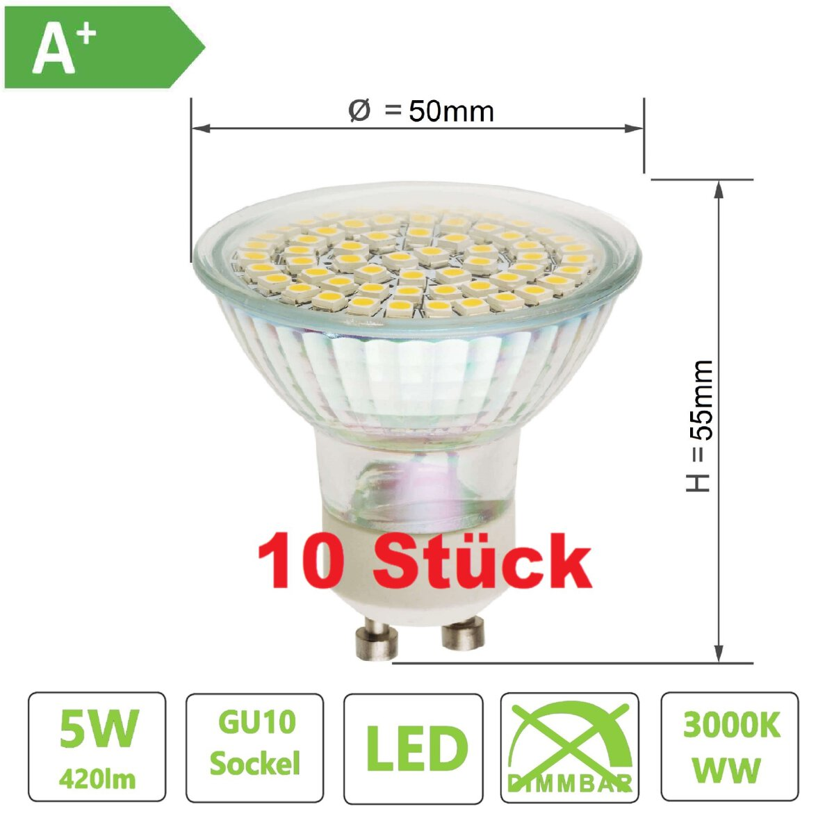 10x led gu10 lampe 60xsmd chip lichtfarbe warmwei 3000k. Black Bedroom Furniture Sets. Home Design Ideas