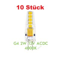 10 x LED Lampe Silicon G4 2 watt naturweiß ACDC12V 4000K...
