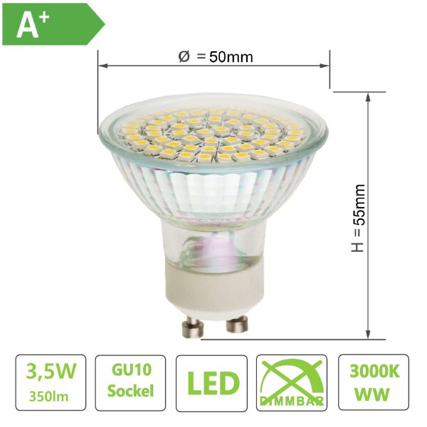 LED GU10 Lampe , 60xSMD chip , Lichtfarbe Warmweiß / 3000K,